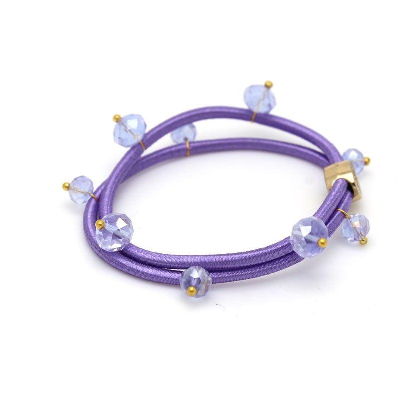 Bracciale elastico con cristallo (fermacapelli) - 16 colori