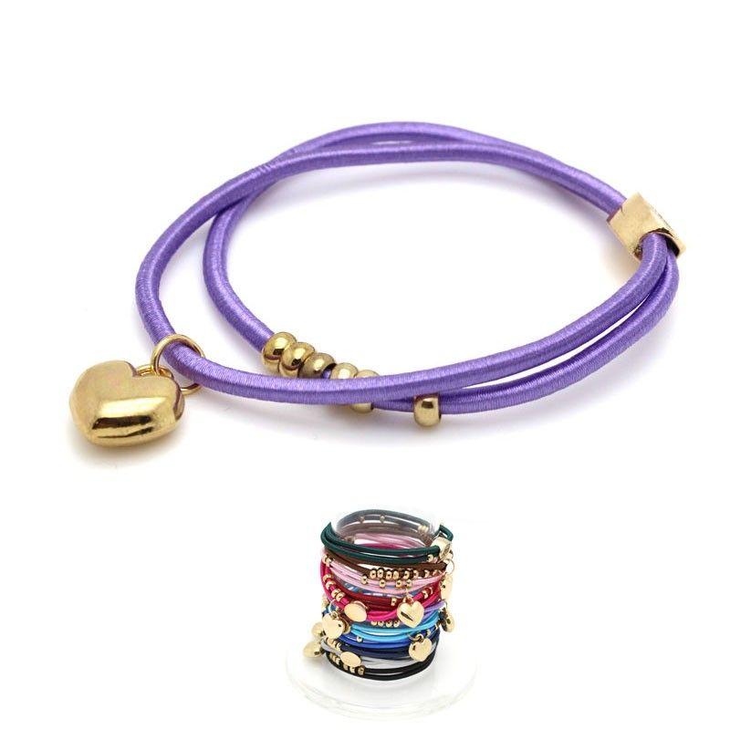 Bracciale elastico con ciondolo CUORE in metallo - 11 colori