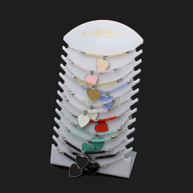 Braccialetti cristalli colorati e catene con CUORE - Pacco da 12pz+Espositore in Omaggio