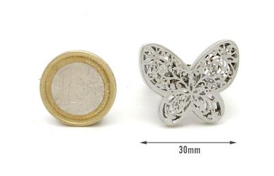Anello elastico FARFALLA ripieno cristallo