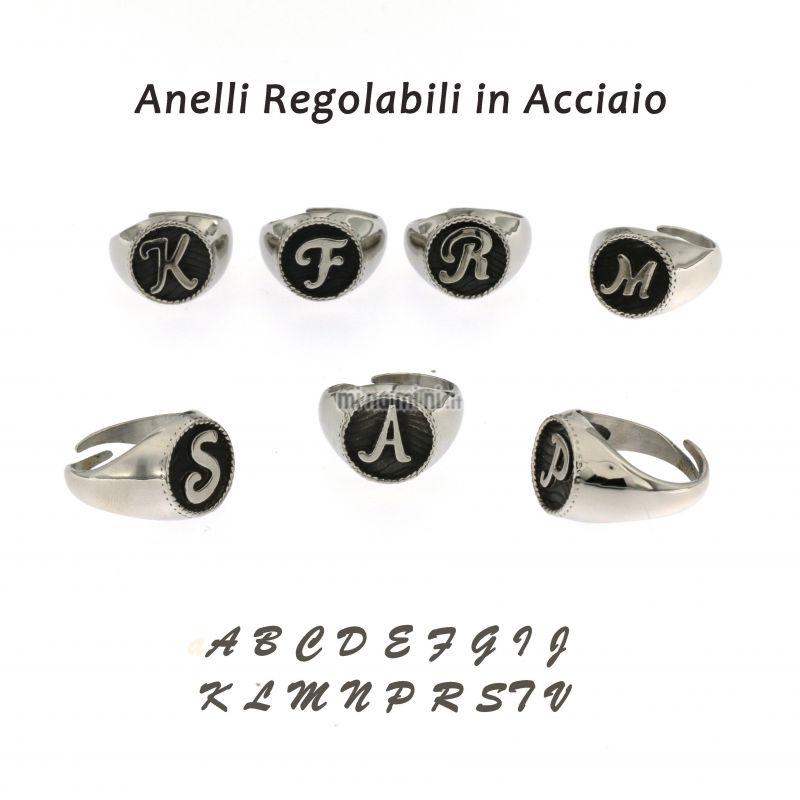 AAR5414-INIZIALE- Anelli in Acciaio Regolabile