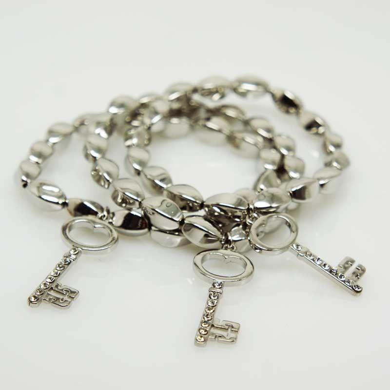 Bracciali tris con ciondoli chiave - argento/oro/ororosa