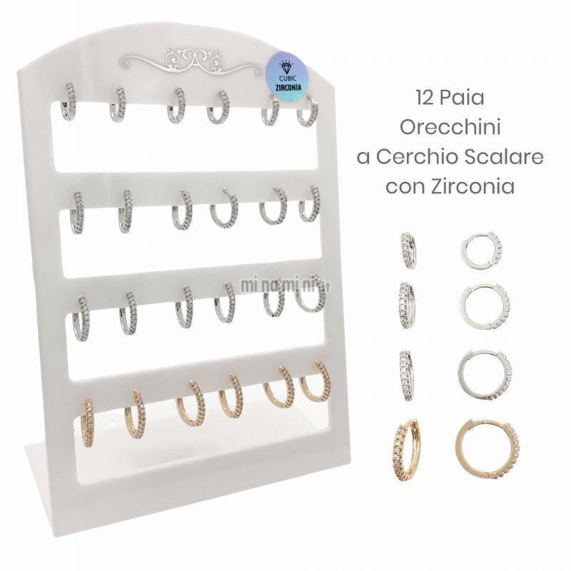 OPM109-31-Cerchio a Scalare Zirconia-12 Paia Orecchini