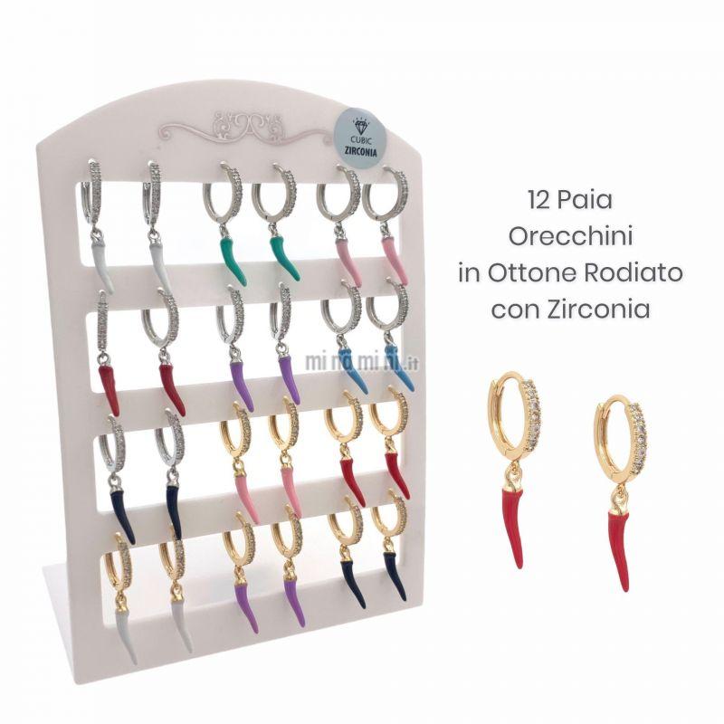 OPM109-Q4-Cerchio con Cornino-12 Paia Orecchini