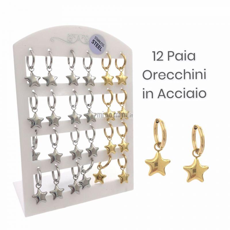 OPA450-406- Stella Bombata-12 Paia Orecchini in Acciaio