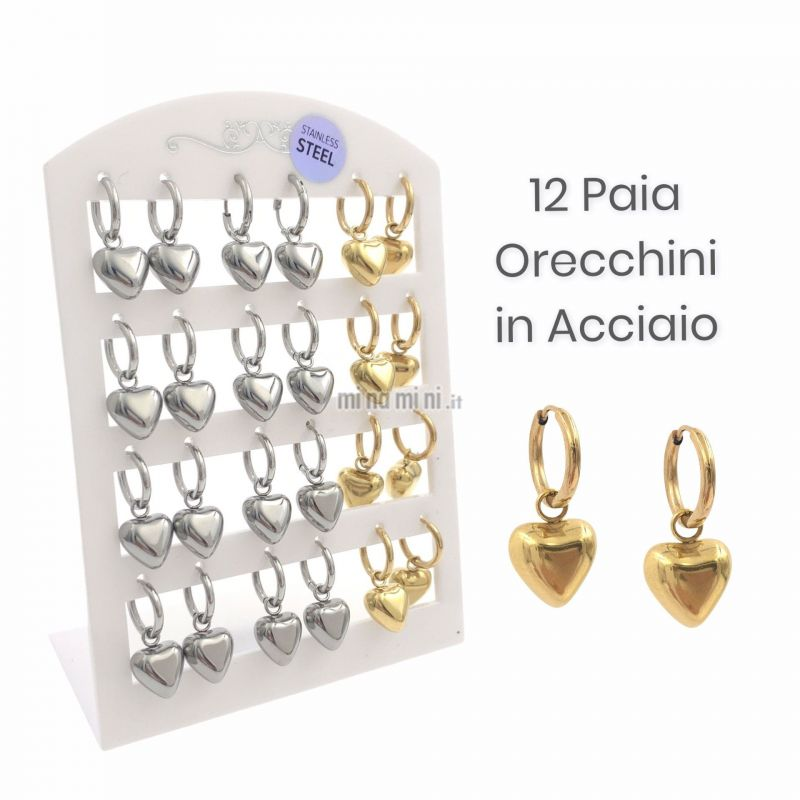OPA450-405-Cuore Bombato-12 Paia Orecchini in Acciaio