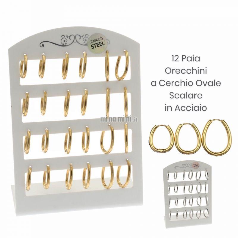 OPA450-236-Cerchio Goccia - 12 Paia Orecchini in Acciaio