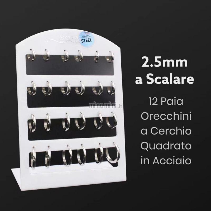OPA450-216-Cerchio Quadrato 2.5 a Scalare - 12 Paia Orecchini