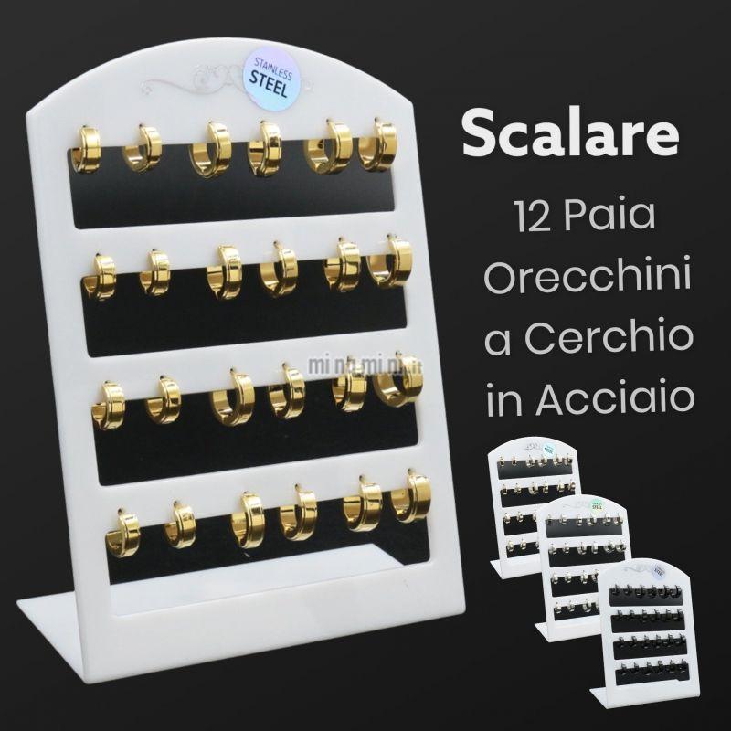 OPA450-278-Cerchio Quadrato Linea - 12Paia Orecchini
