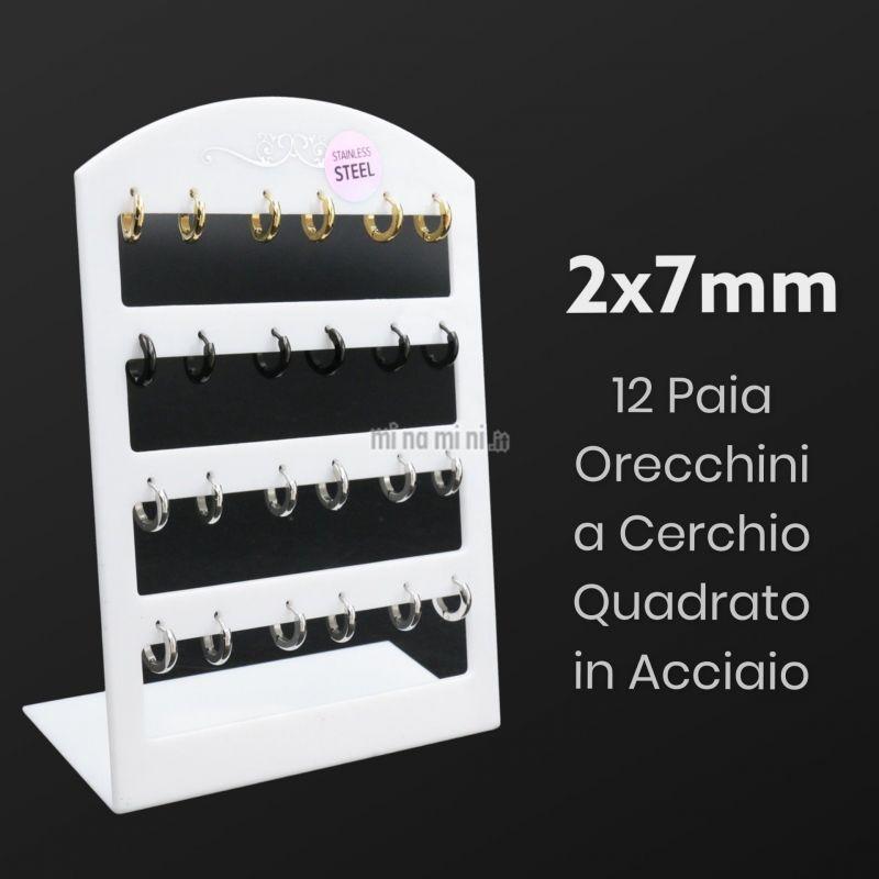 2x7 Cerchio Quadrato -Orecchini (Conf.12 Paia)