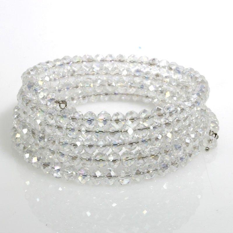 Bracciale a sei giri spirale rigido con cristallo di vetro - BIANCO