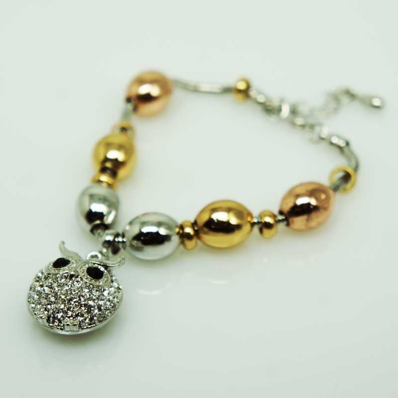 Bracciale con ciondolo gufo e ovale - argento/oro/ororosa