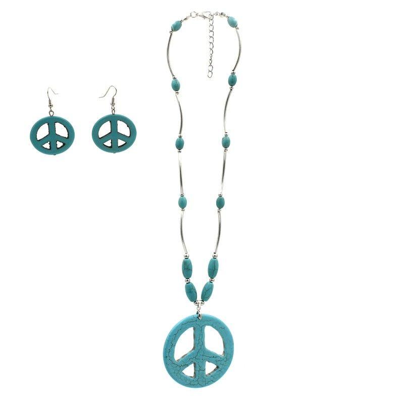 Parure collana e orecchini con simbolo della PACE in pasta di turchese