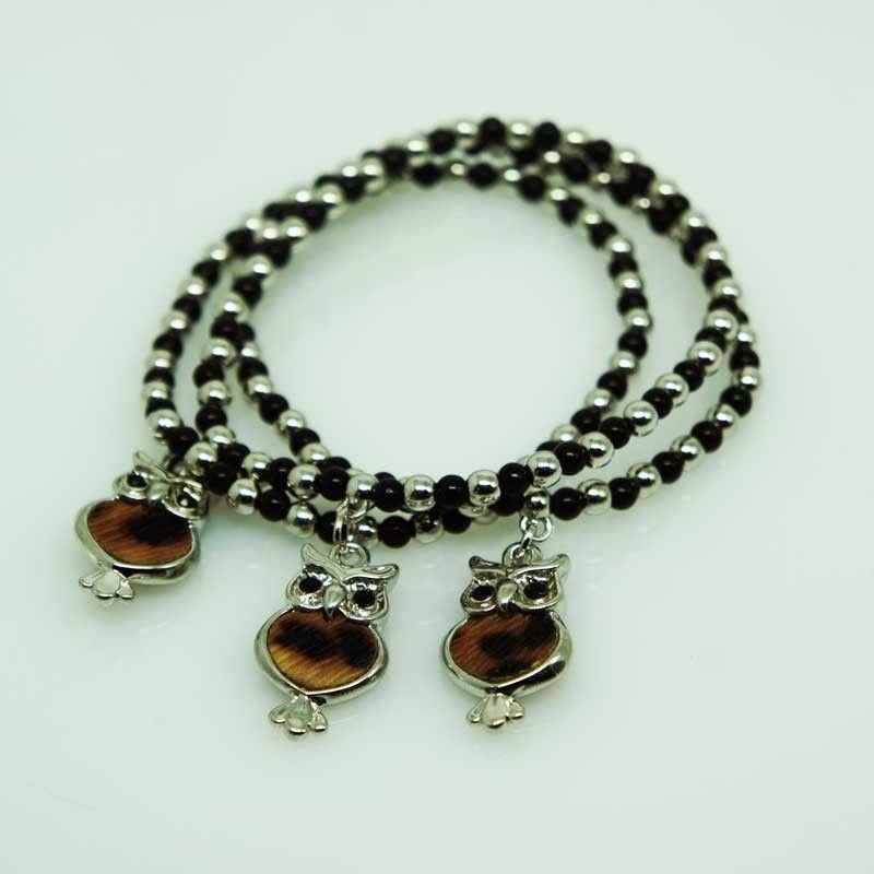 Bracciali tris di palline e pietre con pendente gufo - argento/nero