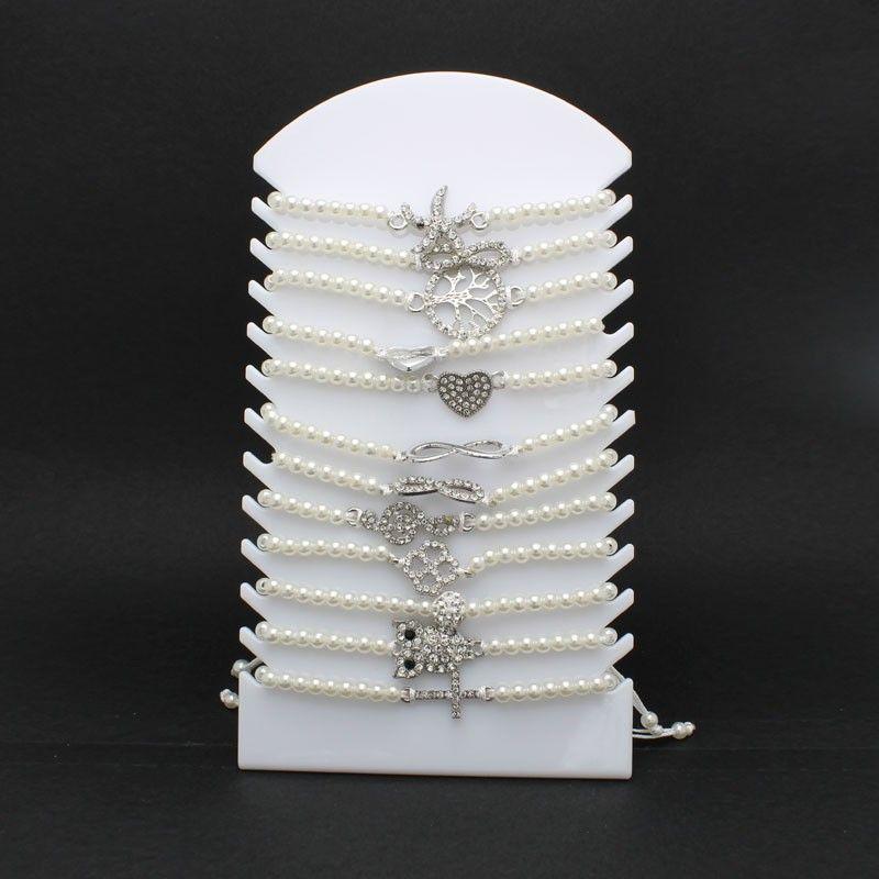 Braccialetti con perla 12 modelli assortiti - Pacco da 12pz+Espositore in Omaggio