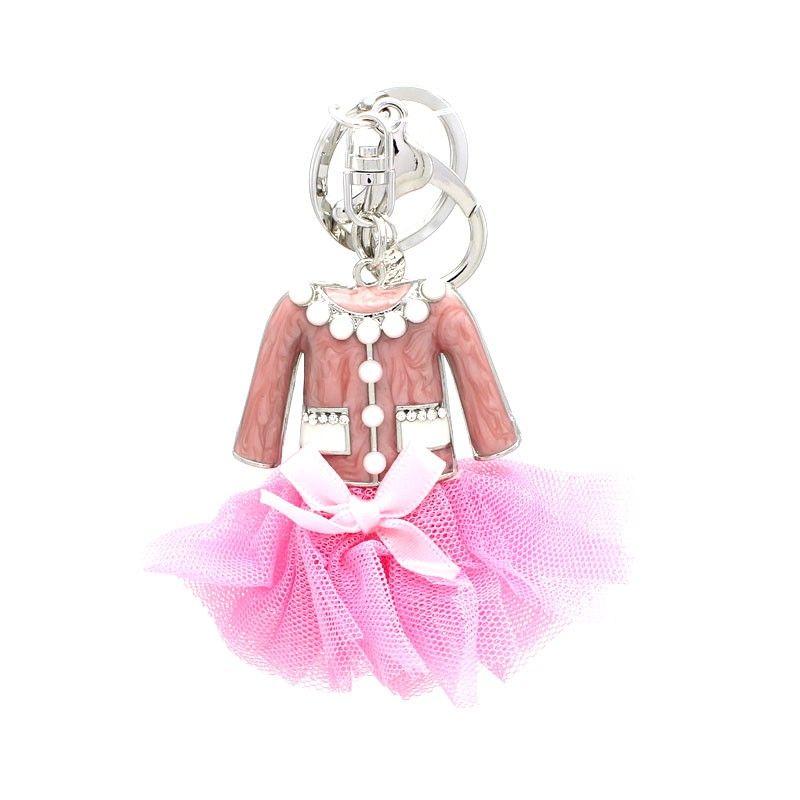 Portachiave VESTITO in metallo e perla - 4 Colori