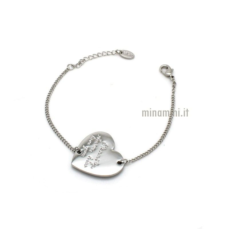 Bracciale fine con CUORE eternity amor less love you
