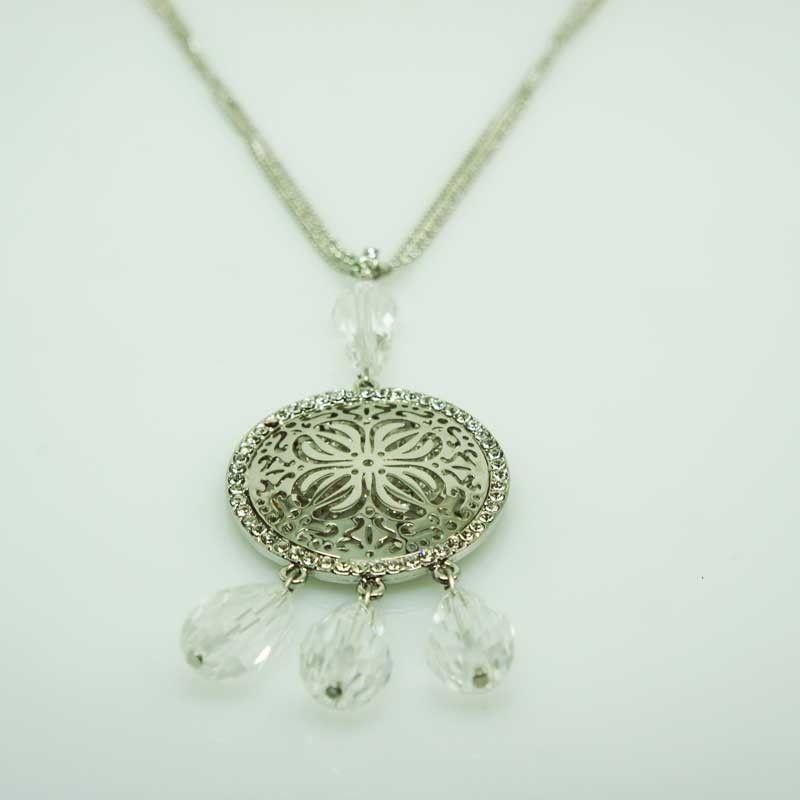 Collana lunga a medaglia con pendente strass - argento
