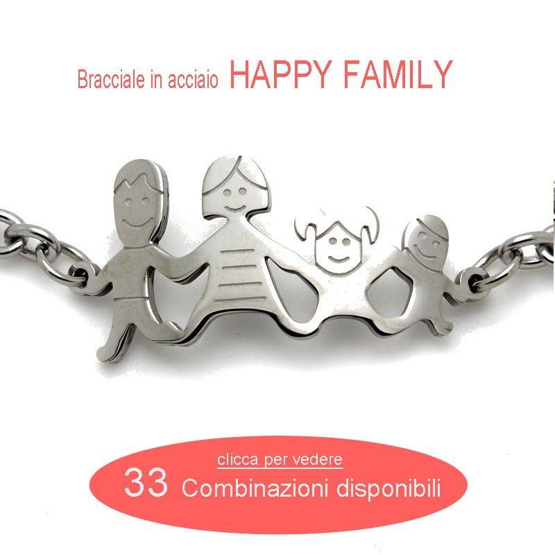 Bracciale in acciaio HAPPY FAMILY - 8 modelli
