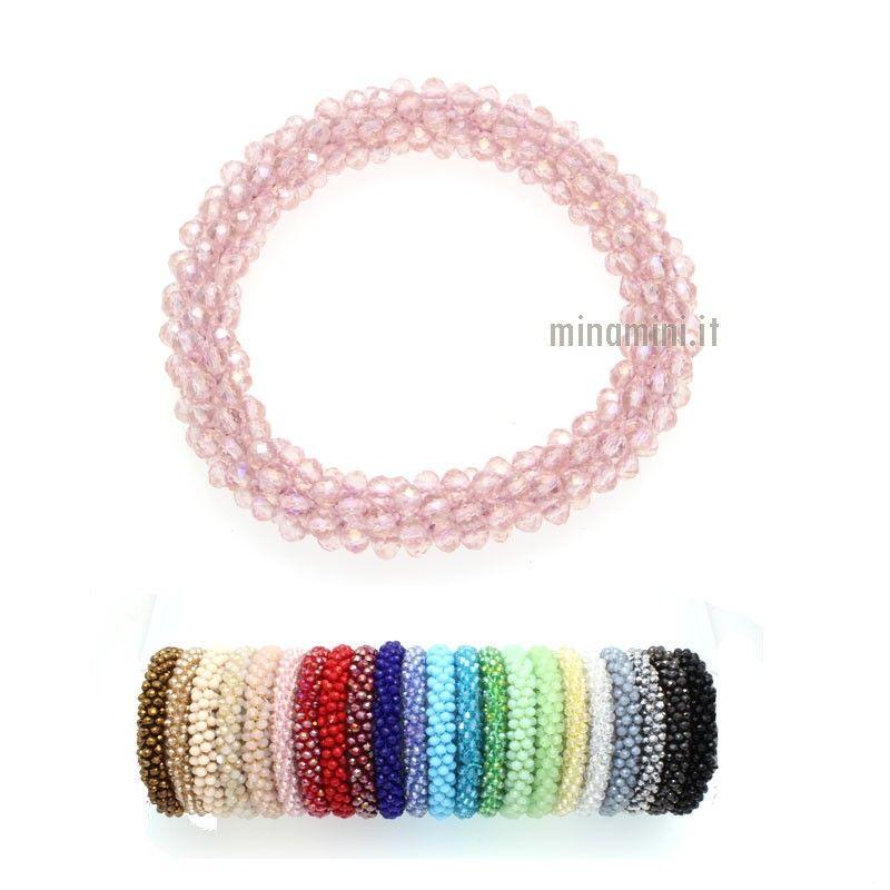 Bracciale elastico con cristalli colorati - 19 colori