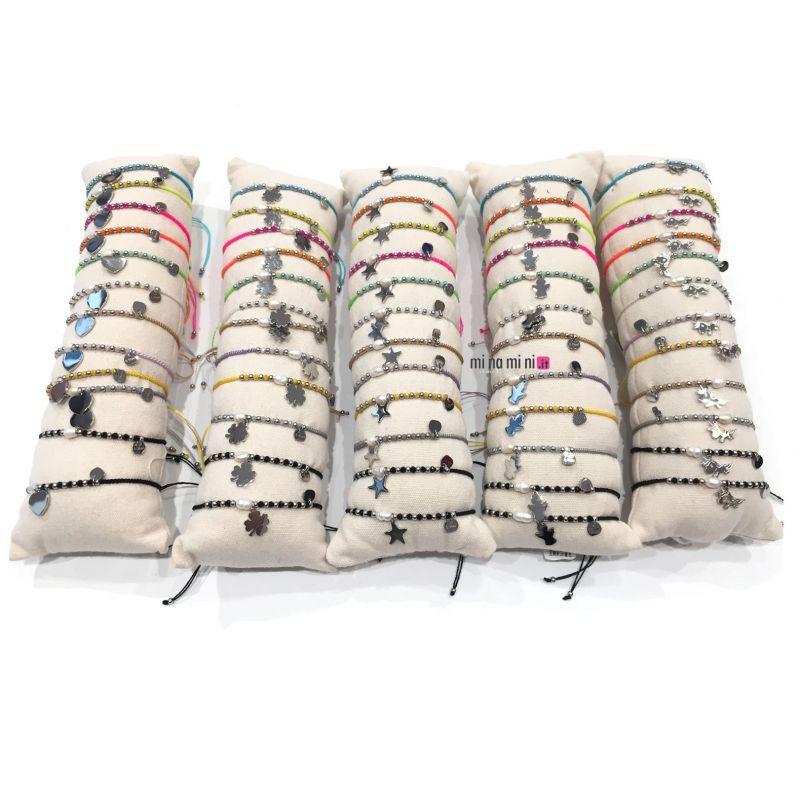 Bracciali a filo con Ciondolo in Acciaio ( 5 modelli a scelta) - Pacco 12pz + Cuscino In Omaggio