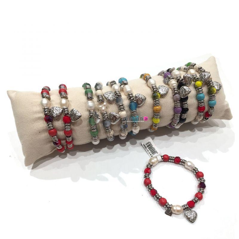 Bracciali elastico con pietre e acciaio con CUORE in Acciaio - Pacco 12pz + Cuscino In Omaggio