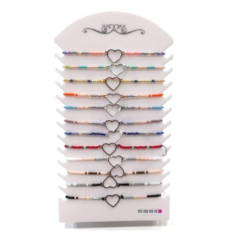 Braccialetti Perline con ciondolo in acciaio - Pacco da 12pz (5 modelli a scelti) + Espositore in Omaggio
