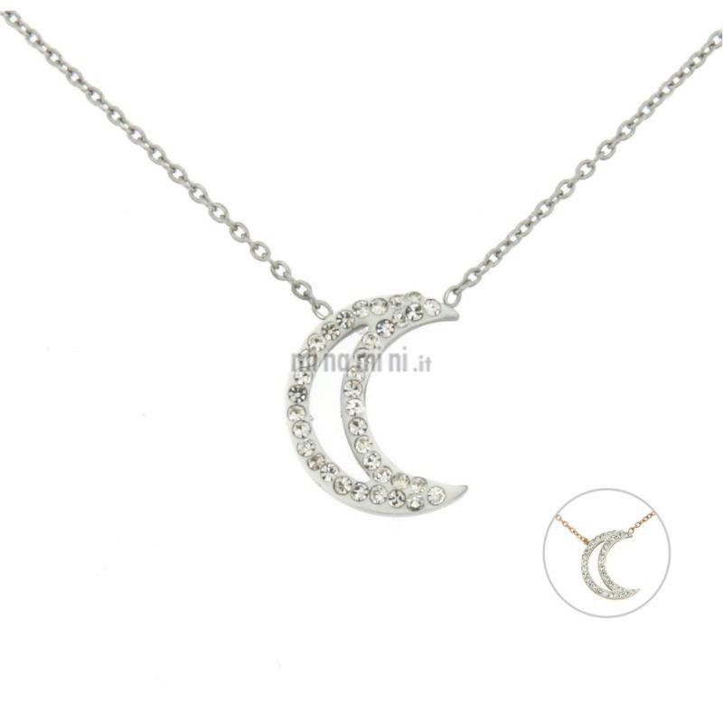 CAC-Luna 5691 - Collana Corta in Acciaio