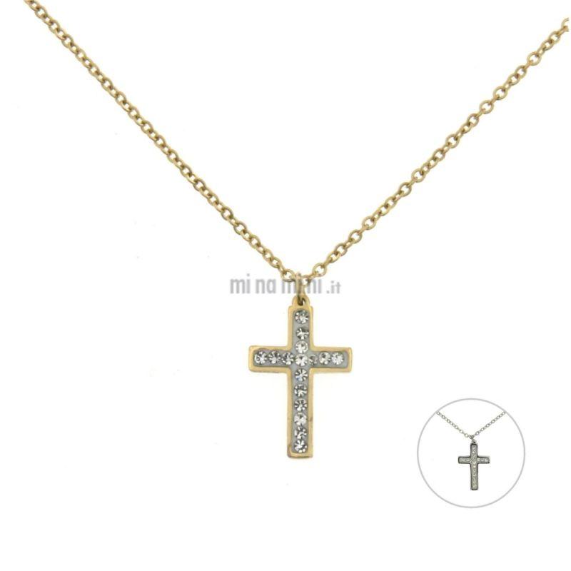 CAC6369-Croce Piccolo - Girocollo in Acciaio con Strass