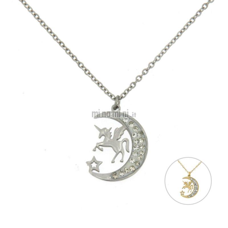 CAC5457-Unicorno sulla Luna - Collana Girocollo in Acciaio