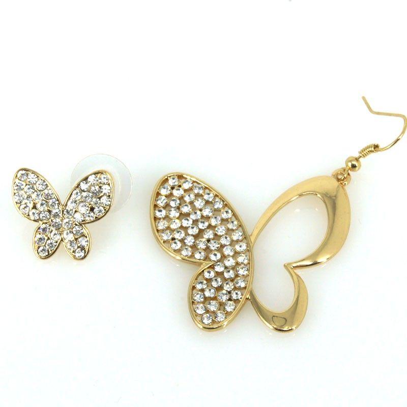Orecchini farfalle differenti con strass - oro