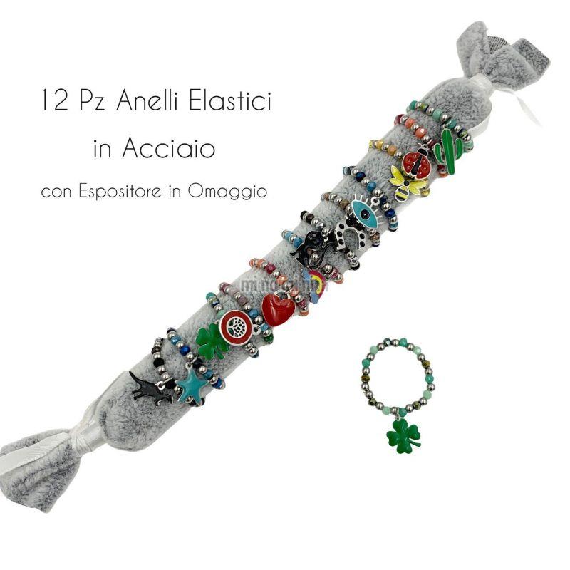 APA5918-Soggetti Mix Colorati - 12Pz Anelli Elastici