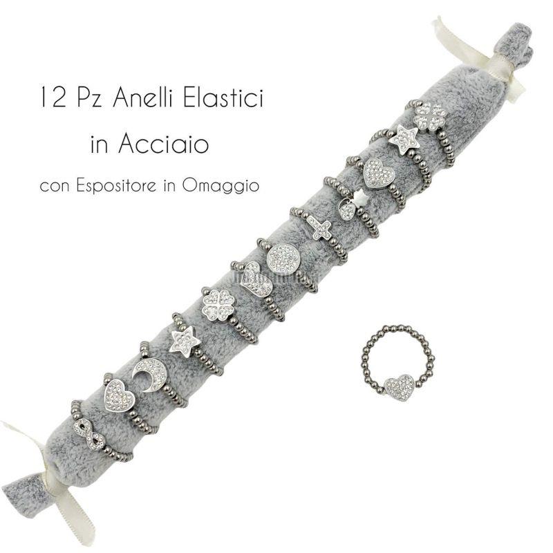 APA6286-Soggetti Mix Palline- 12Pz Anelli Elastici in Acciaio