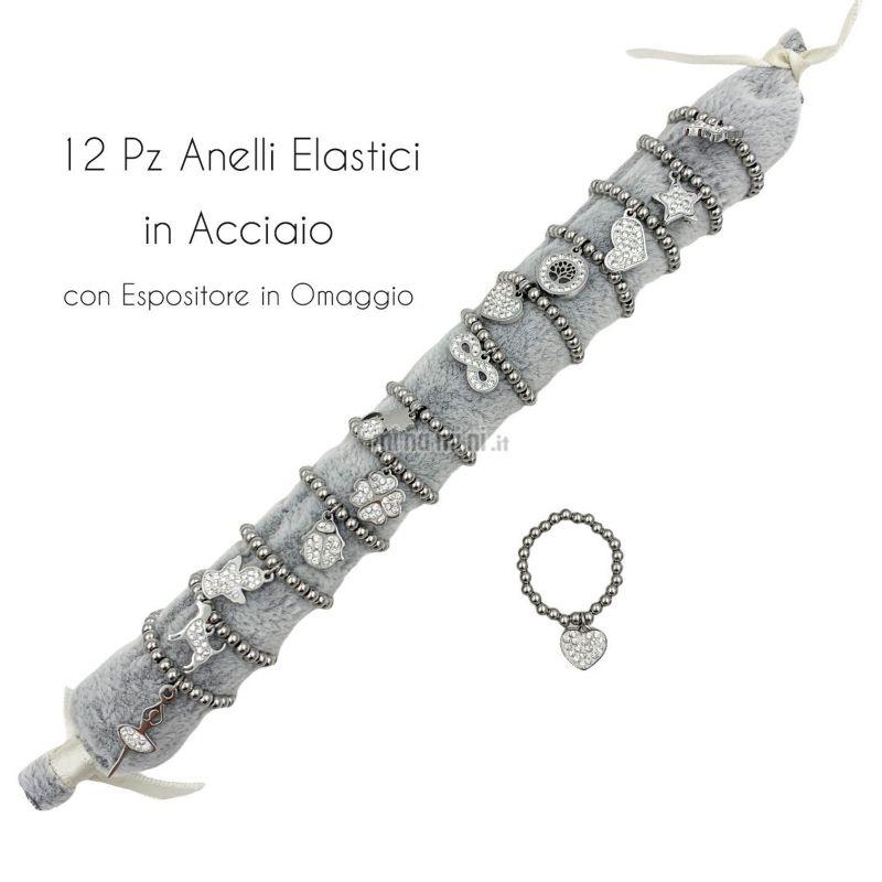 APA6288-Soggetti Mix Pendenti- 12Pz Anelli Elastici in Acciaio