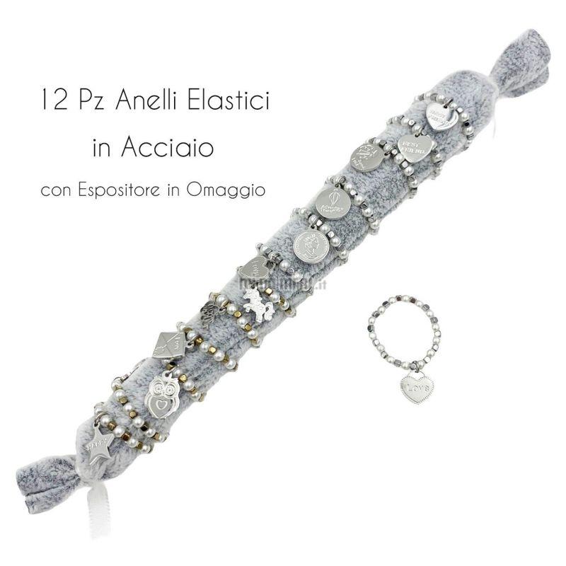 APA6289-Soggetti Mix Perla- 12Pz Anelli Elastici in Acciaio