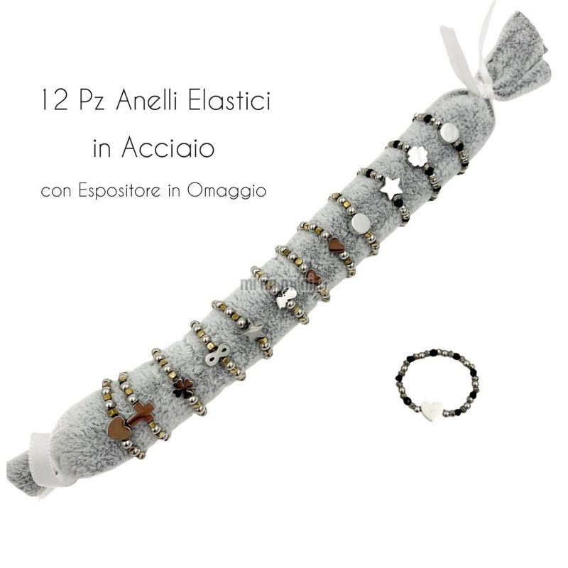 APA6290-Soggetti Mix - 12Pz Anelli Elastici in Acciaio