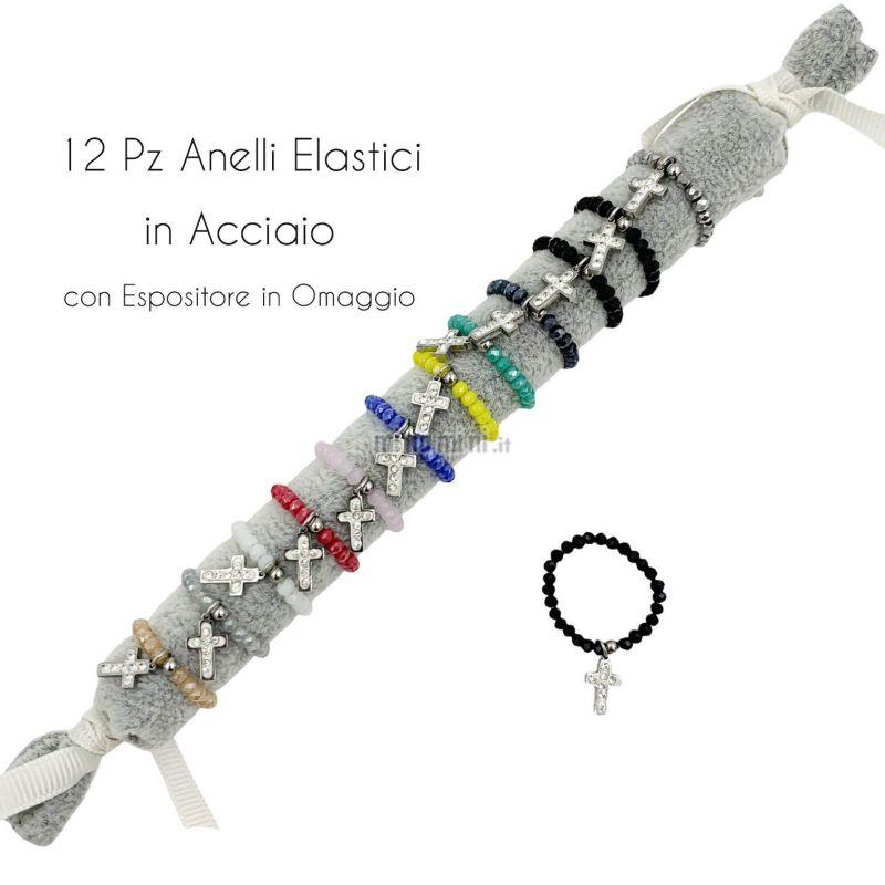 APA6291-Croce- 12Pz Anelli Elastici in Acciaio
