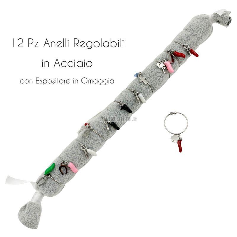 APA6292-Fortuna- 12Pz Anelli Regolabili in Acciaio