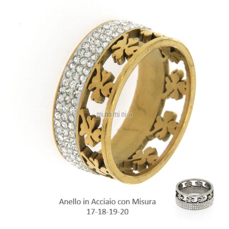 AAM-Quadrifoglio 5485 - Anello in Acciaio