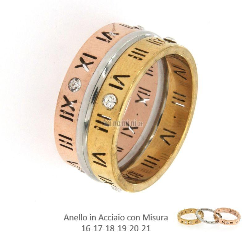 AAM-Tris N. Romani 5492 - Set 3pz Anelli in Acciaio