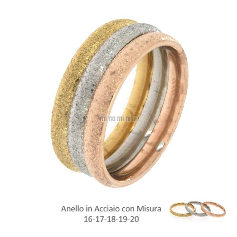 AAM-Tris Satinato 5493 - Set 3pz Anelli in Acciaio