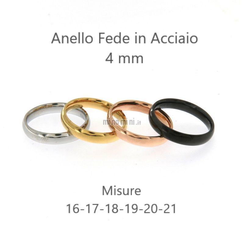 AAM5418-Anello Fede Liscio 4 mm - Anelli in Acciaio
