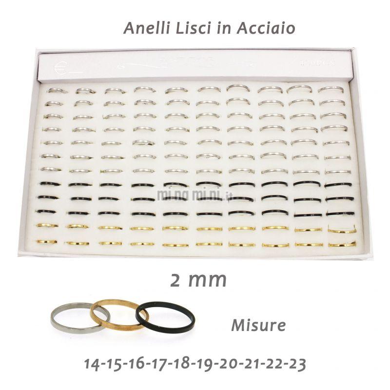 AAM5417 -Anello Liscio 2 mm - Anelli in Acciaio